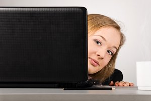 office woman with laptop