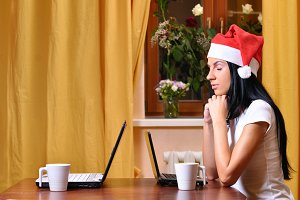 lonely pretty woman is waiting her friend at christmas