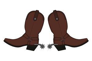 Wild west cowboy boots. Vector