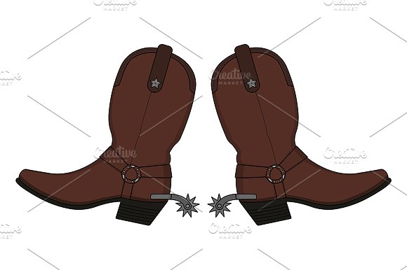 Wild west cowboy boots. Vector - Illustrations