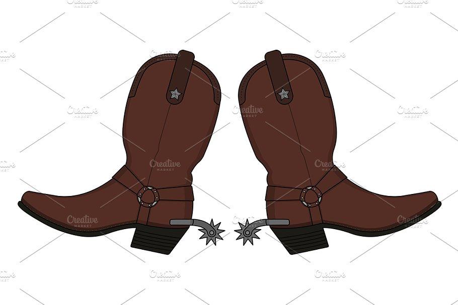 2783ea8d1360 Wild west cowboy boots. Vector ~ Illustrations ~ Creative Market