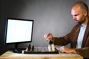 human chess player against computer