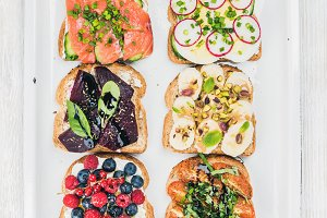 Sweet and savory breakfast toasts