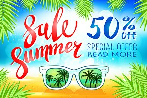 Summer sale lettering vector