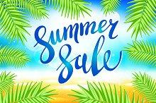 Summer sale lettering vector