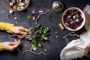 Girls hands cooking salad