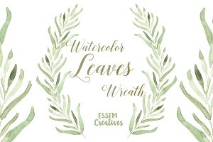 Watercolor Leaf Wreath Clipart