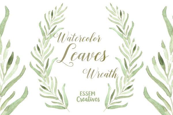 Watercolor Leaf Wreath Clipart