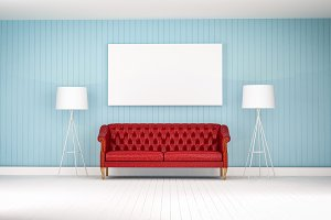 red vintage sofa on the room