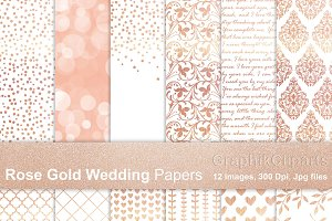 Rose gold Wedding Papers