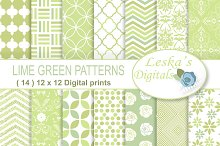 Lime Green Digital Paper Patterns