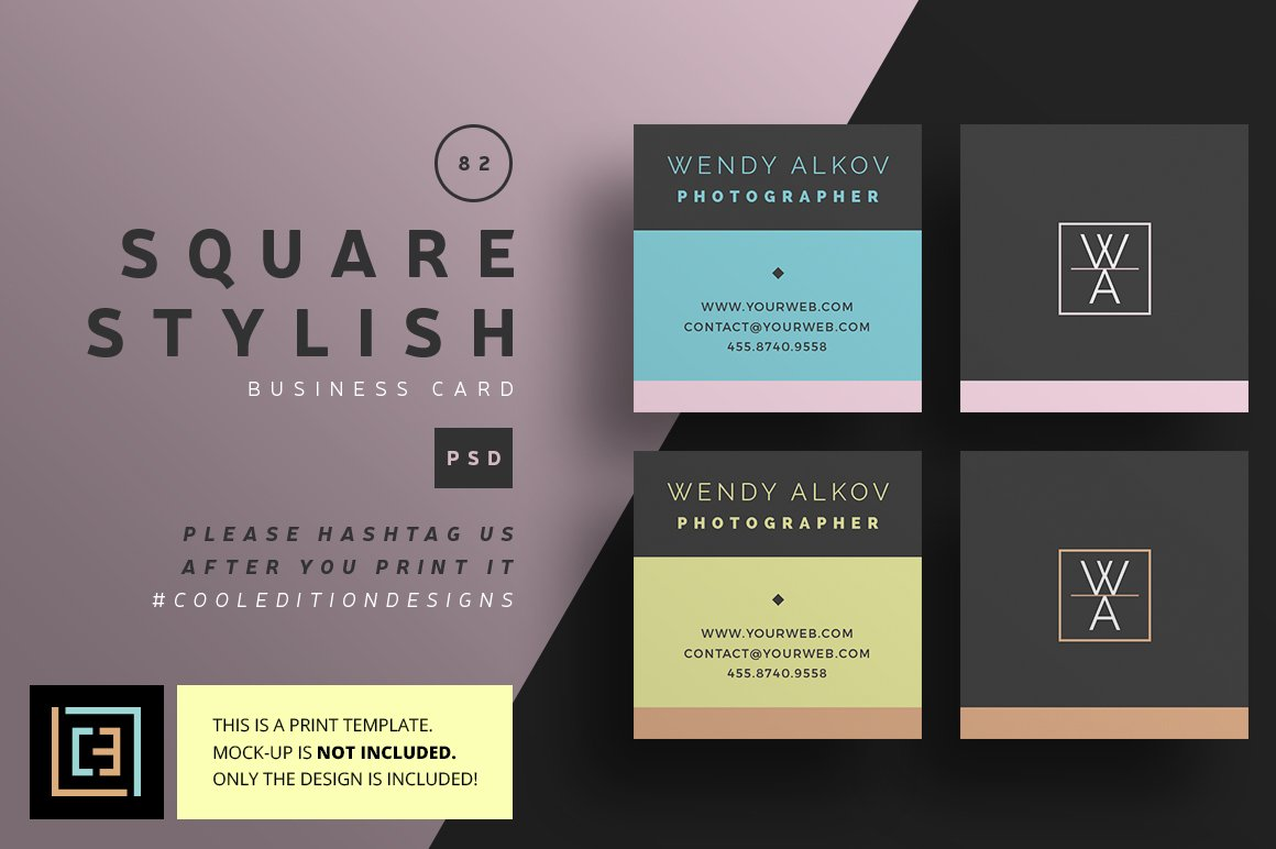Square Stylish - Business Card 82 ~ Business Card Templates ...