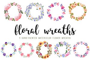 Watercolor flower wreaths set
