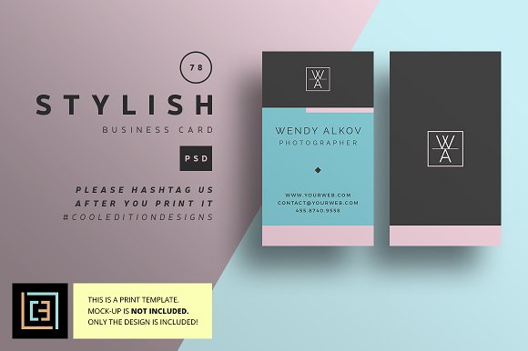 Stylish Business Card 78 Business Card Templates Creative Market