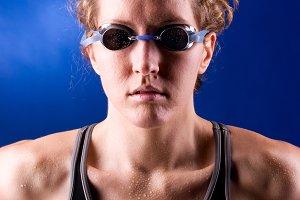 muscular woman swimmer