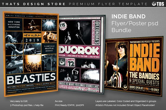 Indie Band Flyer Bundle Flyer Templates Creative Market