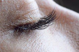 closeup of female closed eye