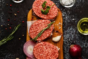Raw ground beef meat cutlets