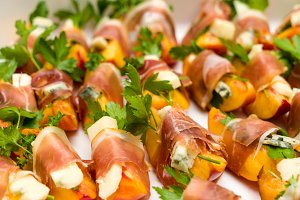 Prosciutto and peach appetizers