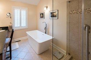 Modern bathroom with standalone tub