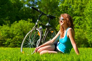 woman and bike