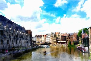 Watercolor of Gent Belgium.
