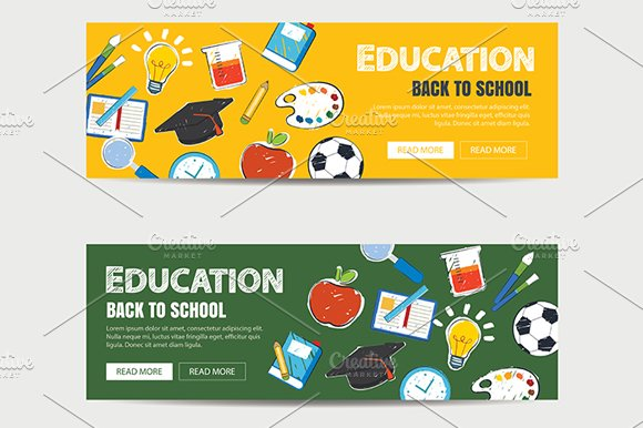 education banner template web elements creative market
