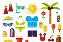 Summer symbols vector icons