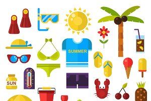Summer symbols vector icons
