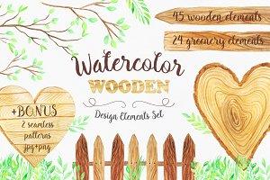 Watercolor Wooden Design Set