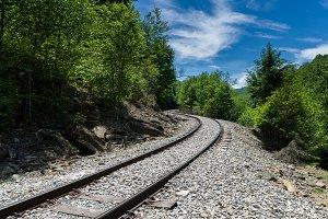 Railway lines vanish into distance