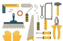 Flat construction tools vector