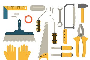 Flat construction tools vector