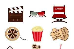 Cinema icons in flat style vector