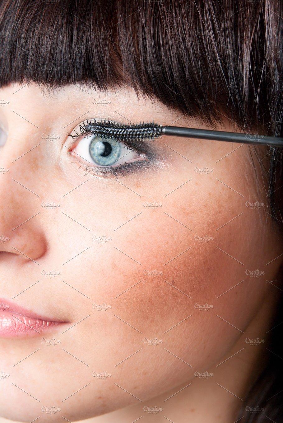 Beautiful Woman Applying Mascara A Lot Of Copy Space People