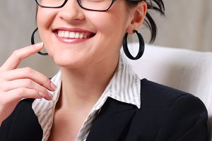 beautiful businesswoman wearing glasses