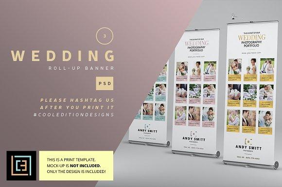 wedding roll up banner 3 flyer templates creative market