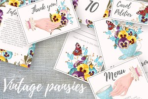 Vintage Pansies Wedding Suite