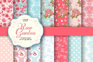 Romantic floral papers pack.