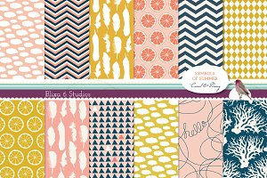 Summery Lemon Digital Patterns