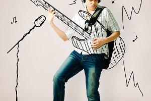 playing on drawn guitar