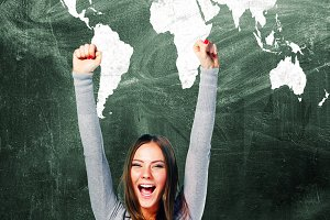 excited student woman