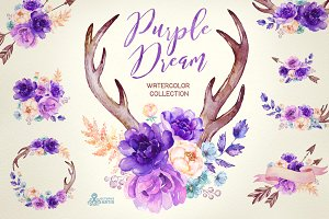 Purple Dream. Watercolor Collection
