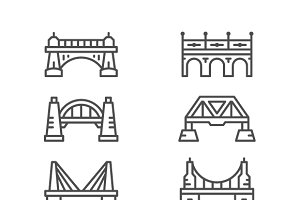 Set line icons of bridges