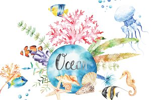 Watercolor Ocean set