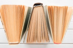 books with yellowed pages