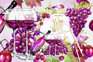 Wine and Grapes Clipart