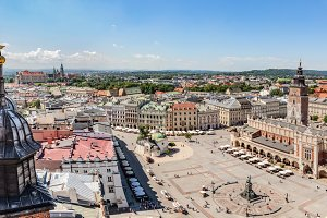 Panorama of Cracow, Poland.