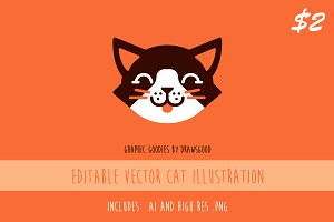 Editable Vector Cat Illustration