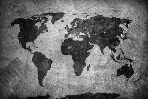 World map on concrete, plaster wall.